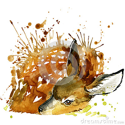 Free Deer T-shirt Graphics, Deer Illustration With Splash Watercolor Textured Background. Royalty Free Stock Photos - 55359828