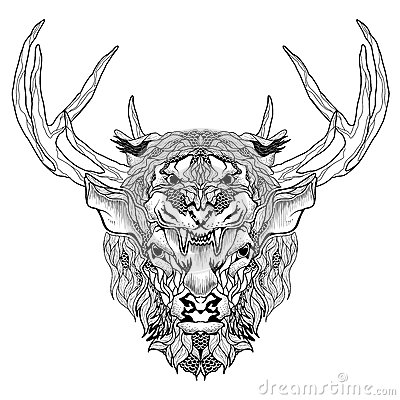 Deer And Tiger Head Tattoo Psychedelic Zentangle Style