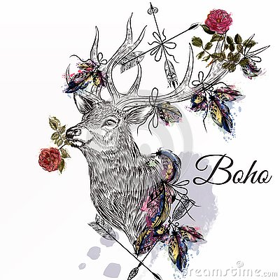 Free Deer With Feathers And Arrows Holding Rose Flower Boho Tribal St Royalty Free Stock Images - 68181869