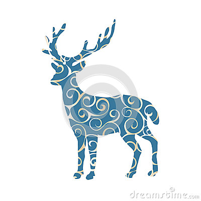 Deer woodland color silhouette animal Vector Illustration