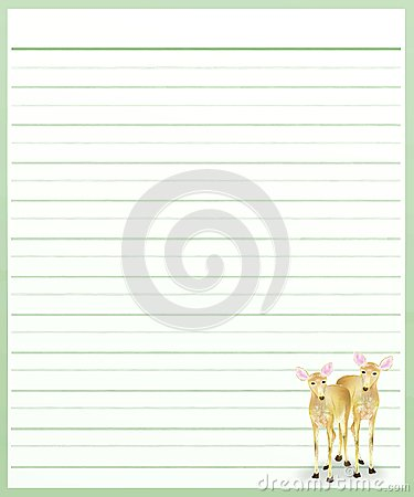 Deers on Green Color Lined  Paper