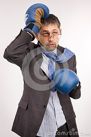 Defeated businessman - boxer