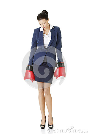 Free Defeated Businesswoman In Boxing Gloves Stock Images - 29851544