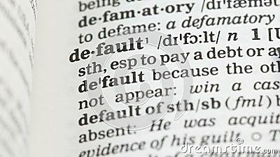 Defeito, palavra na página do vocabulário no inglês, língua estrangeira, risco de investimento vídeos de arquivo