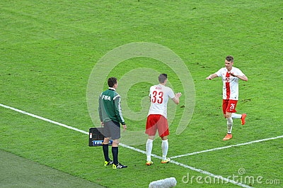Defender of the National Team of Poland Lukasz Piszczek during friendly soccer match versus Lithuania