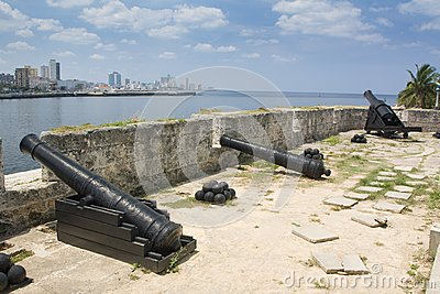 Defense cannons in old colonial Havana city (III)