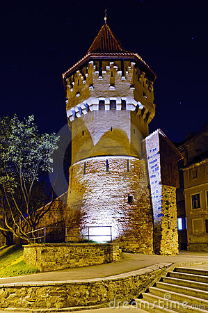 Defense tower in sibiu at night