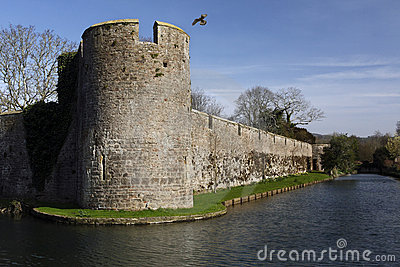 Defensive walls - Bishops Palace - Wells - England Editorial Photo
