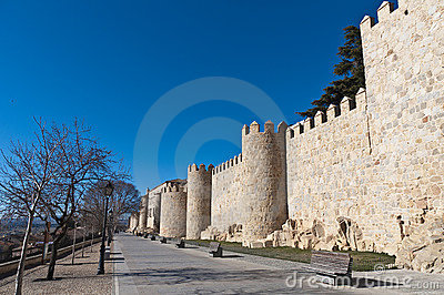 Defensive walls tower at Avila, Spain