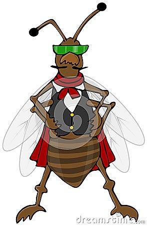 Defiant bug wearing a vest