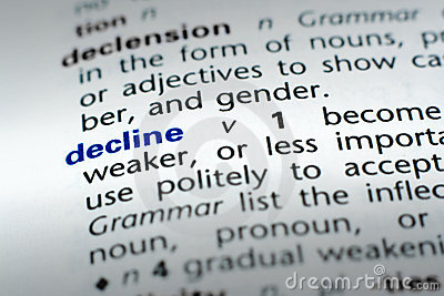 Definition of Decline Stock Photo
