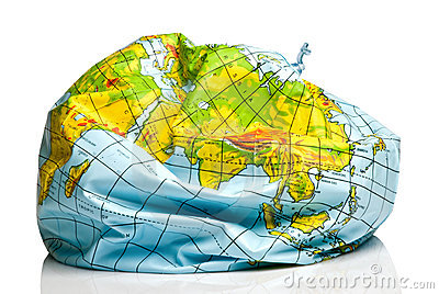 Deflated planet earth balloon