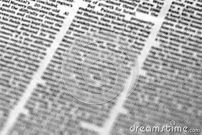 Defocused newspaper page