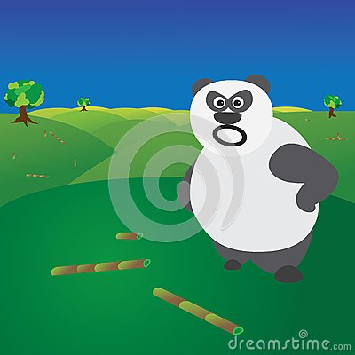 Deforestation concept - angry panda without food