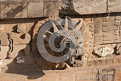 Deity (jaguar) image on pyramids in Teotihuacan