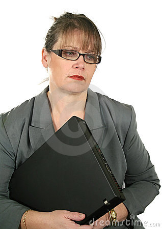 Dejected Businesswoman With Laptop