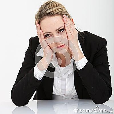 Dejected depressed businesswoman