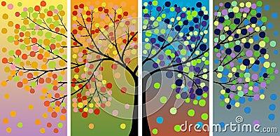 Dekoracja cztery sezonów drzewo