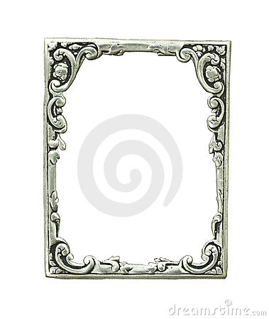 Dekoracyjny ramowy stary srebro