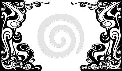 Dekoratives schwarzes Weiß blüht Ränder