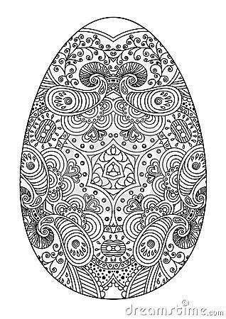 Dekoratives Schwarzweiss Osterei Zentangle Vektor