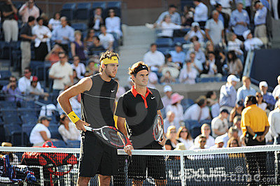 Del Potro and Federer in final US Open 2009 Editorial Stock Image