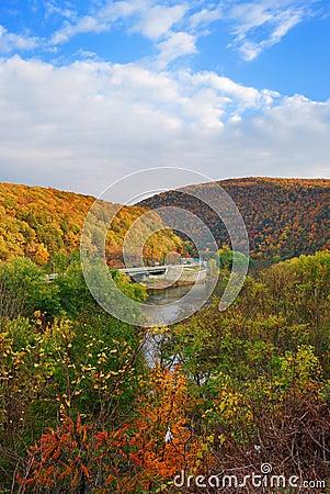 Delaware Water Gap panorama in Autumn
