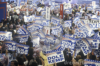 Delegates and campaign signs Editorial Photography