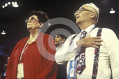 Delegates recite the Pledge of Allegiance Editorial Image