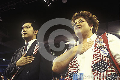 Delegates recite the Pledge of Allegiance Editorial Stock Photo