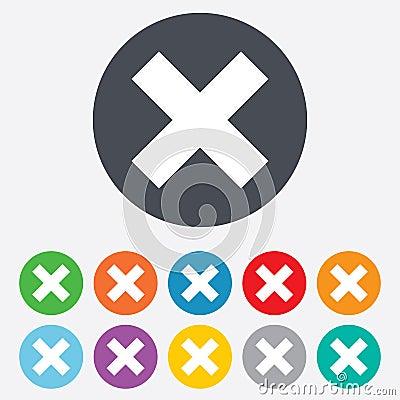 Delete sign icon. Remove button.