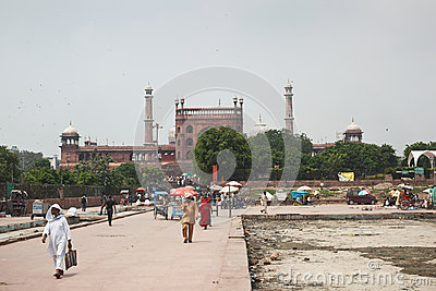 Delhi Jama Masjid Mosque Editorial Photography