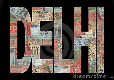 Delhi Text with Rupees