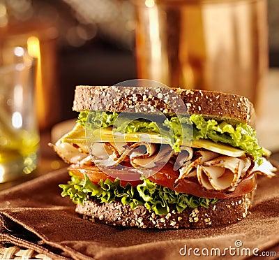 Deli meat sandwich with turkey