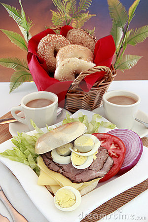 Deli meats bagel and coffee