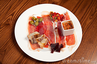 Deli meats on a white plate