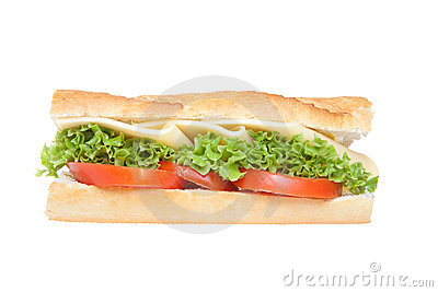 Deli sandwich on baguette