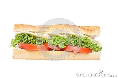Deli sandwich on baguette