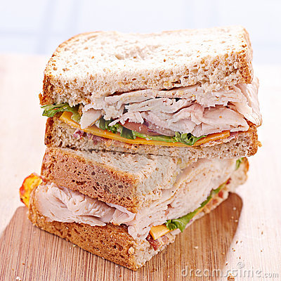 Deli turkey club sandwhich