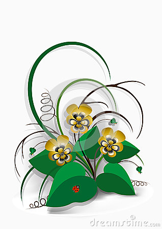 Delicate bouquet of yellow pansies on  white background