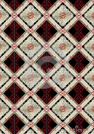 Delicate checkered seamless background with red pattern
