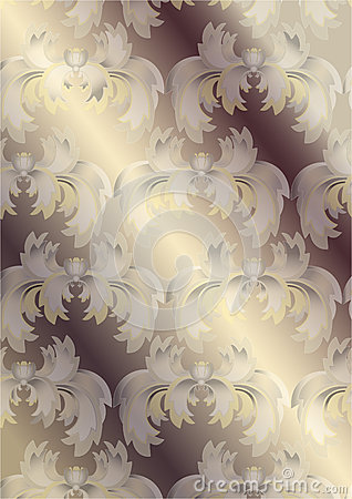 Delicate exotic flowers on shiny beige background