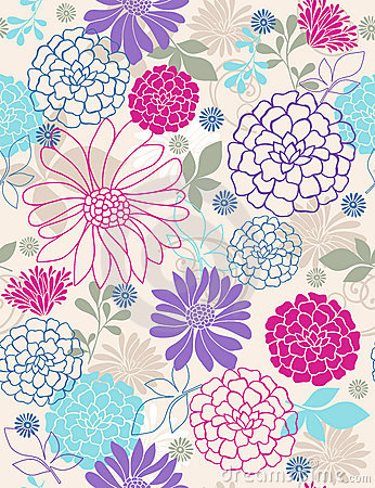 Delicate Flowers Seamless Repeat Pattern