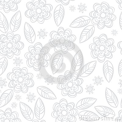 Delicate gray floral seamless pattern
