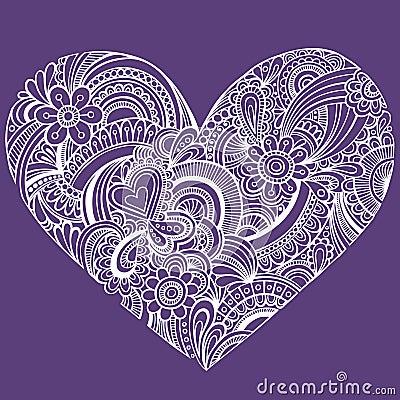 Delicate Henna Paisley Heart Vector