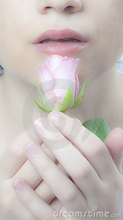 Delicate lips and rose