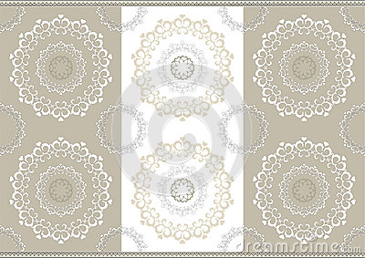 Delicate openwork circles on border seamless backg