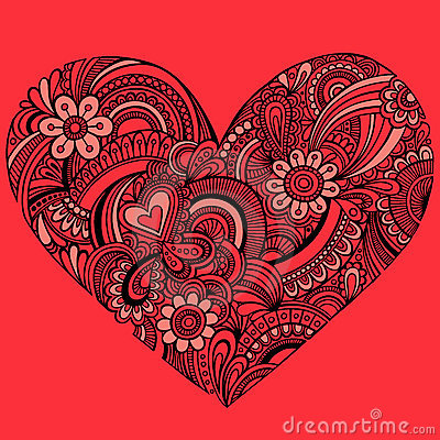 Delicate Red Henna Paisley Heart Vector