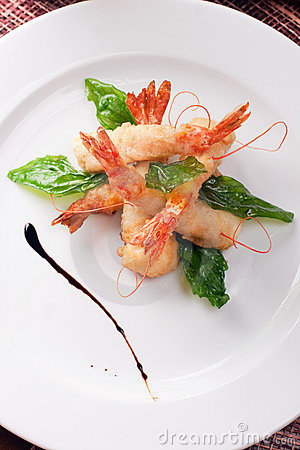 Delicatessen dish with shrimps
