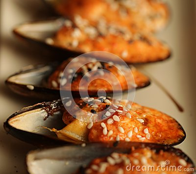 Delicious baked mussles